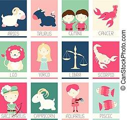 mignon, bannières, zodiaque, caractères, collection