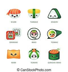 mignon, barre sushi, icônes