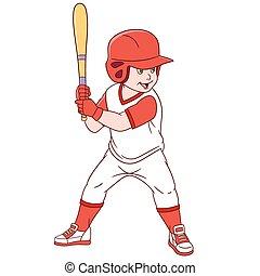 mignon, base-ball, dessin animé, joueur