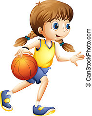 mignon, basket-ball, dame, jeune, jouer