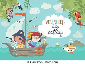 mignon, bateau, pirates, voile, leur