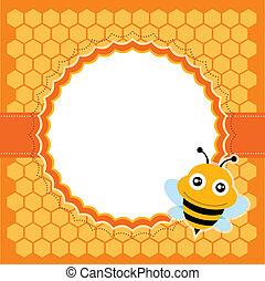 mignon, bee., vecteur, illustration.