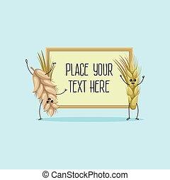 mignon, blé, espace, texte, seigle, illustration, dessin animé, hoding, vecteur, caractères, bannière, ton, oreilles
