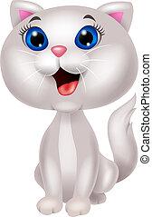 mignon, blanc, dessin animé, chat