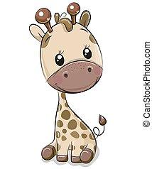 mignon, blanc, girafe, isolé, fond