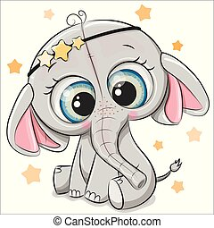 mignon, blanc, isolé, fond, éléphant