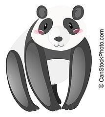 mignon, blanc, panda, fond