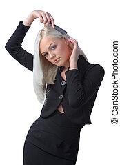mignon, blond, peigner, elle, cheveux