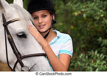 mignon, blonds, elle, horse.