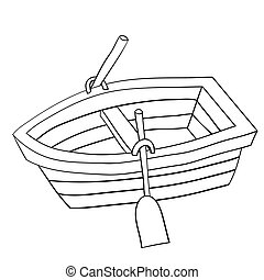 mignon, boat., bois, griffonnage, illustration, dessin animé, eps8., rang