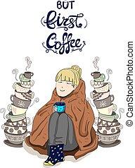 mignon, bon, empilé, lettering:, thé, couverture, 'tea, ...