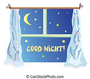 mignon, bon, illustration, lune, étoiles, fenêtre, nignt