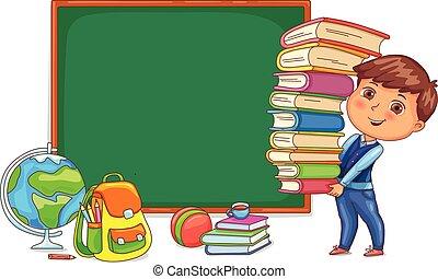 mignon, books., enfant, tableau noir