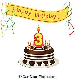 mignon, bougies, -, 3, gâteau anniversaire, carte, heureux