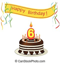 mignon, bougies, -, anniversaire, 6, gâteau, carte, heureux