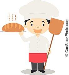 mignon, boulanger, vecteur, dessin animé, illustration