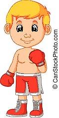 mignon, boxe, dessin animé, garçon
