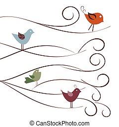 mignon, branches, oiseaux, arbre