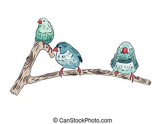 mignon, branches, séance, arbre, illustration, vecteur, oiseaux