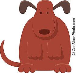 mignon, brun, caractère, chien, dessin animé, chiot, ou