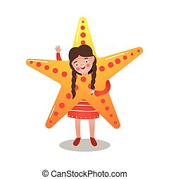 mignon, brunette, étoile, déguisement, mer, girl, robe, rouges