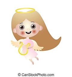 mignon, brunette, ange, or, gosse, ailes, harpe