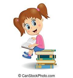 mignon, brunette, apprentissage, book., étudiant, portrait, lecture fille, illustration.
