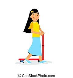 mignon, brunette, gosses, activités, caractère, scooter, illustration, vecteur, équitation, girl, dessin animé, coup de pied, physique