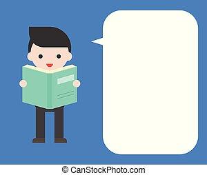 mignon, bulle, affiche, plat, livre, conception, publicité, tenue, homme affaires, parole, annonce, ou, gabarit