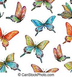 mignon, butterflies., seamless, texture, aquarelle, painting.