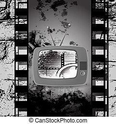 mignon, c, cinéma, tv, vecteur, retro, pellicule