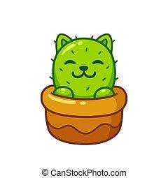 mignon, cactus, chat