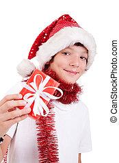 mignon, cadeau, garçon, prise vue., isolé, fond, studio, noël blanc, rouges