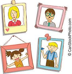 mignon, cadre, photo famille