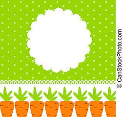 mignon, cadre, vecteur, carotte, illustration