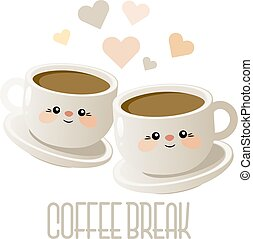 mignon, café, coffee., deux, illustration, vector., break., tasses