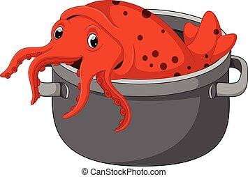 mignon, calamar, dessin animé