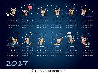 mignon, calendrier, 2017, chat