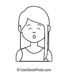 mignon, caractère, avatar, femme affaires