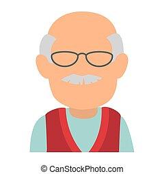 mignon, caractère, avatar, grand-père