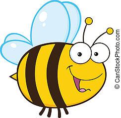 mignon, caractère, dessin animé, abeille