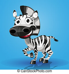 mignon, caractère, dessin animé, baby-zebra