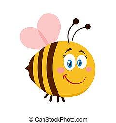 mignon, caractère, dessin animé, femme, abeille