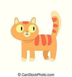 mignon, caractère, illustration, chat, vecteur, fond, blanc, dessin animé, rouges
