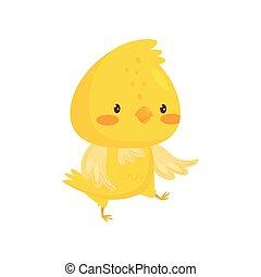 mignon, caractère, illustration, dessin animé, vecteur, fond, blanc, poulet