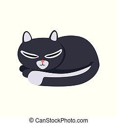 mignon, caractère, illustration, dormir, vecteur, arrière-plan noir, chat blanc, dessin animé