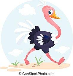 mignon, caractère, illustration, vecteur, dessin animé, ostrich.