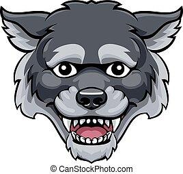 mignon, caractère, loup, mascotte, dessin animé, heureux