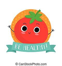 mignon, caractère, vecteur, légume, tomate, écusson
