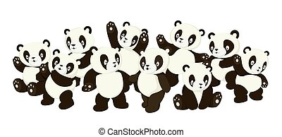 mignon, caractères, foule, émotions, dessin animé, vecteur, illustration, panda, divers